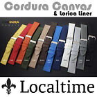 Localtime New CORDURA Canvas Watch Strap 8 Colours 4 Sizes 90-120mm Steel Buckle