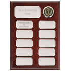 WOOD SHIELD ANNUAL PERPETUAL AWARD SILVER PLATES 2 SIZES AVAIL ENGRAVED FREE
