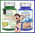 1 GARCINIA CAMBOGIA + 1 COLON CLEANSE DETOX Capsules 95% HCA Natural Weight Loss