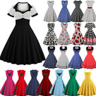 UK Women's Vintage 1950s Polka Dot Rockabilly Evening Prom Swing Dress Plus Size