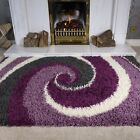 Contemporary Purple Grey Swirls Shaggy Rug Soft Non Shed Small Large Area Rugs