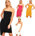 Womens Chain Strappy Sleeve Sleeveless Wrap Over Ladies Bodycon Party Dress