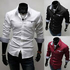 Men's Luxury Slim Fit Dress Shirts Tops Long Sleeve Casual Shirt Tee Tops S - XL