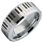 8mm White Tungsten Carbide Piano Keyboard Band Polished Edges Ring