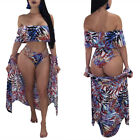 Women Summer Sexy Floral Print Boardshort Swimsuit Bikini Vest with Shawl 4 Pcs