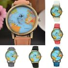 Adults Kids Watch Denim Leather World Map Dial Analog Quartz Wrist Watches Gifts