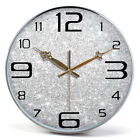 E141 Nordic Style Silvery Bedroom Metal Glass Decoration Wall Clock 16 Inch A