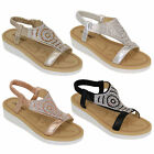 Ladies Flat Sandals Womens Diamante Sling Back Open Toe Shoes Fashion Summer New