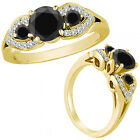 1.25 Ct Black Diamond Three Stone Engagement Wedding Fancy Ring 14K Yellow Gold