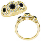 2 Carat Black Diamond Fancy Halo 3 Stone Engagement Bridal Ring 14K Yellow Gold