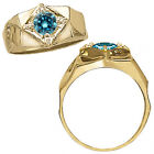 1 Carat Blue Diamond Fancy Solitaire Mens Man Engagement Ring 14K Yellow Gold