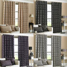 Paoletti Hanover Chenille Jacquard Lined Eyelet Curtains, 90 x 90 Inch