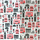 Hey London ! white & silver patriotic polycotton fabric sold per half metre