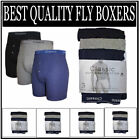 3X Mens Cotton Classic Plain Boxer Shorts Underwear - Black, Blue & Grey