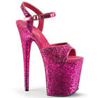 "8"" Pink Glitter Super High Platform Stripper Heels Shoes Pleaser Flamingo-810LG"