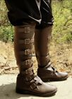 Brown Renaissance Fair Steampunk Pirate Firefly Road Warrior Mens Buckled Boots