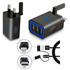 3+Port+USB+Mains+Wall+Power+Charger+with+Type-C+and+iPhone+Lightning+adapters+UK