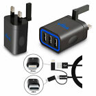 Fast Multi Port Wall Charger Mains UK Plug 5V with USB-C iPhone Cable For Phone