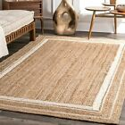 nuLOOM Modern Solid Bordered Natural Jute Area Rug in Off White