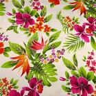 Stunning Hawaiian Print Cotton Fabric, Magenta Kokio & Okika on Ivory, Trendtex
