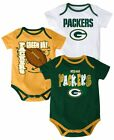 Green Bay Packers 3-Point Spread Baby 3pk Creeper Bodysuit Set