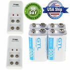rechargeable 9v batteries with charger - 4x 900mAh Ni-MH White Rechargeable Batteries + 2x 9V Volt Charger With US Plug