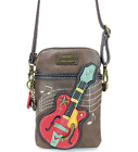 NEW CHALA GUITAR MUSIC CELL PHONE CROSSBODY PURSE ADJUSTABLE STRAP BROWN