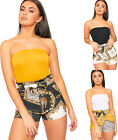 Womens High Waisted Baroque Animal Print Belted Hot Pants Ladies Shorts Pocket
