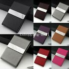 Stainless Steel PU Leather Credit ID Business Card Holder Pocket Case Wallet EW
