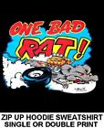 ONE BAD RAT BIG BLOCK MOTOR ENGINE HOT RAT ROD OUTLAW RACE ZIP HOODIE SWEATSHIRT
