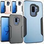 For Samsung Galaxy S9 / S9 PLUS Slim HYBRID Carbon Trim Hard Protector Case