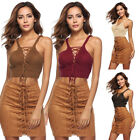 Fashion Women Sleevless Knitted Knot V Neck Tops Lace Up Vest Blouse Club GIFT