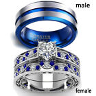 2 Rings Couple Rings Stainless Steel Sapphire White Gold CZ Women's Wedding Ring image