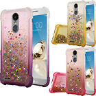 For ZTE ZMAX PRO Liquid Glitter Quicksand Hard Case Phone Cover +Screen Guard