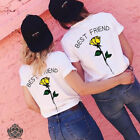Damen T-Shirt Shirt Top Rundhals Kurzarm Sommer Lose Best Friend Oberteile Bluse