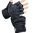 Weight lifting Gym Gloves Training Fitness Wrist Wrap Workout Exercise Sports @