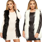 Womens Shaggy Faux Fur Lined Sleeveless Open Waistcoat New Ladies Gilet 10-14
