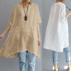 ZANZEA Women Summer Short Sleeve Irregular Cotton Tops T-shirt Blouse Plus Size