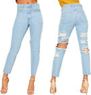 Womens Baggy Wide Leg Extreme Ripped Denim Mom Jeans Ladies Trousers Pants