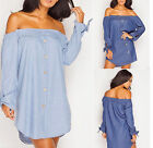 NEW WOMENS OFF THE SHOULDER LADIES BARDOT BUTTON DENIM LOOK SHIRT TOP 8-16