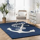 nuLOOM Handmade Coastal Anchor Nautical Wool Area Rug in Navy and Off White