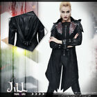 goth aristocrat Rogue Priest layered look Leatherette hooded jacket【CT06401】