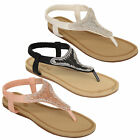 Ladies Diamante Sandals Womens Slip On Toe Post Shoes Party Wedding Fashion New