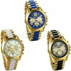 Luxury Mens Gold Tone Stainless Steel Strap Watch Analog Quartz Wrist Watch New image
