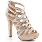 Gold Rhinestone Heels Vintage Bridal Bridesmaid Flapper Party Shoes 7 8 9 10 11
