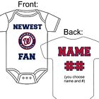 PERSONALIZED WASHINGTON NATIONALS BASEBALL FAN BABY GERBER ONESIE SOCKS GIFT