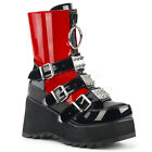Black Red Harley Quinn Gothic Punk Cosplay Demonia Shoes Ankle Boots size 7 8 9