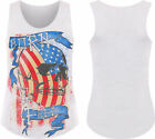 new Womens Born Free Skull Stars And Stripes USA Ladies Sleeveless Vest Top 8-14
