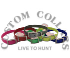 """(12)3/4"""" Ring In Center Poly Nylon Dayglo Hunting Dog Collars Printed Nameplates"""