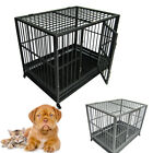 "42"" Dog Crate Kennel - Heavy Duty Pet Cage Playpen w/ Metal Tray Pan 2 Colors"